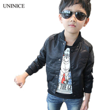 New 2017 Spring Fashion Baby Boys Outwear Skull Print Faux Leather Jackets Coat Kids Trendy Spring Motorcycle Tops for 2-7Y boys(China)