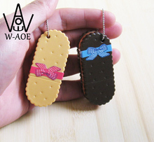 12pcs KeyChain Wafer Biscuit Ballpoint Pen Bag Pendant Cartoon Food Style Plastic 0.7mm Pen Point Key Chain Ring Gift 05144