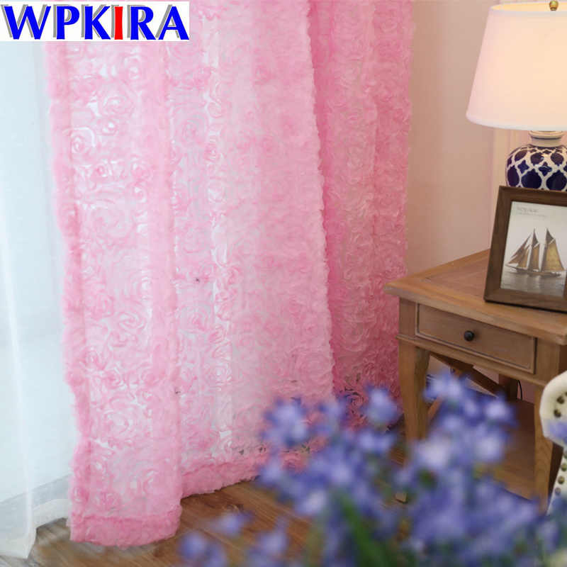 DIY White Rose Korean 3d Curtains Embroidered Floral Tulle Sheer For Living Room Baby Kitchen Bedroom Curtain Fabric WP148-30