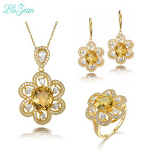 l&zuan 925 Silver Flower Jewelry Set 3.43ct Citrine Ring & 4.75ct Citrine Pendant & 6.86ct Citrine Earring For Women Party Gift(China)