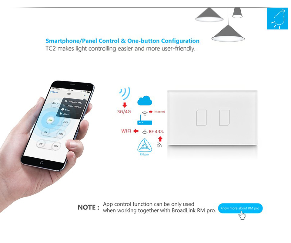 Broadlink TC2 3Gang US Standard Mobile Remote Control Touch Wall Light Switch by Broadlink RM2 RM Pro Home Automation domotica