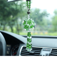 Green DIY Quartz Crystal Ball Car Hanging Fengshui Mascots Pendant mineraux naturel Breloque Mirrors Suspension Crystals Cluster(China)
