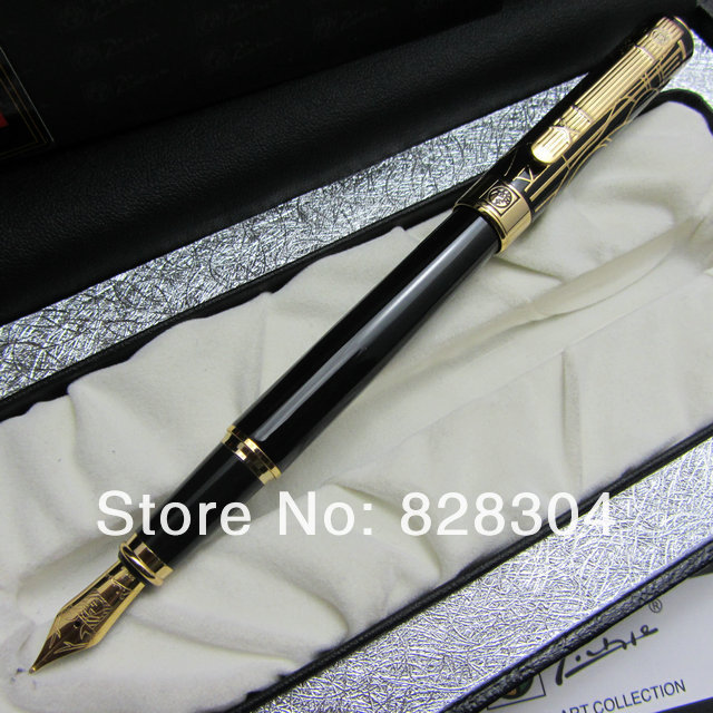 FREE SHIPPING PICASSO 902 BLACK AND GOLDEN 22KGP MEDIUM NIB FOUNTAIN PEN DREAM WITH ORIGINAL BOX<br>