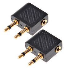 2*3.5mm Female Stereo To 2 Male Mono Airplane Headphone Jack Audio Adapter(China)