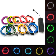 Chasing EL Wire Flexible LED Neon Light strip Tube Rope for Car Party Clothing Wedding Battery case Powered 3 mode controller(China)