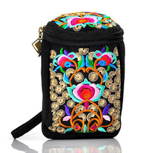 Handmade Ethnic Style Embroidered Canvas Change Purse Phone Camera Bag Portable Messenger Dual-use Package
