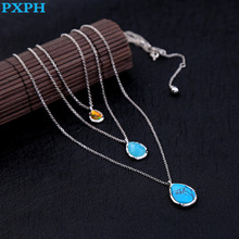 European Style Multi Layer Elegant Water Drop Blue Stone Chokers Necklace For Women N954(China)