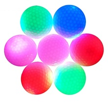 Free Shipping Golf ball with LED Golf Night Training Ball LED electronic Golf ball Golf training ball practice aids(China)