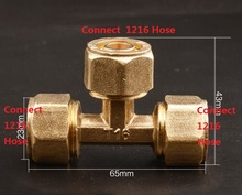 "4Pcs/Lot Brass Hose Fitting 3 Way Adapter G1/2"" Compression + G1/2"" Compression+G1/2"" Compression, Solar Water Heater Fittings(China)"