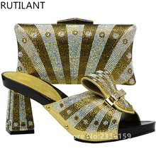 Gold Color Italy Shoe and Bag Women High Quality Italian Shoe and Bag Set Decorated with Rhinestone African Wedding Shoe and Bag