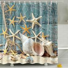 Waterproof Shower Curtain Sea Shell Starfishes And Fishing Nets Pattern Bathroom Screen Fabric Bath Curtains With 12 Hooks