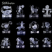 3D Crystal Puzzle with Flash Light DIY Model Buliding Toy Home Decoration Constellation(China)