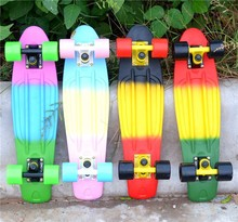 "Children's Scooter Top Quality Pastel Fade SkateBoard Style board Complete 22"" x 6"" Mini Longboard Retro Cruiser Skate Board"