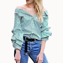 Buy 2017 Women Geen Striped Bluse Shirts Autumn Long Puff Sleeve Blouse Blusas Casual Button Tops Turn-down Collar Tops Clothes for $12.92 in AliExpress store