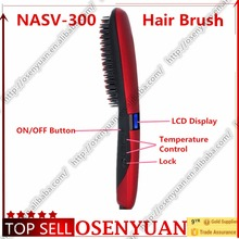 75W NASV Profession Brush Hair Straightener Comb LCD Display Electric Straightening Comb Beautiful Star Generation 3(China)