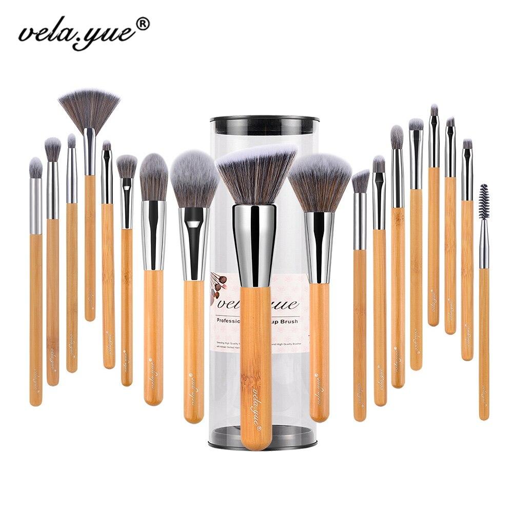 vela.yue Makeup Brush Set 18pcs Full Function Powder Foundation Blusher Bronzer eyeliner Shadow Brow Lip Gloss  Beauty Tool<br>