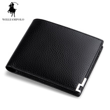 Black Litchi Pattern Cowhide Real Genuine Leather Wallet Men Bifold Clutch Coin Short Purse Pouch ID Card Dollar Holder For Gift