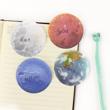 Random Type!! 1PC Cute Lonely Planet Stickers Round Shape Memo Pad Sticky Noates Sticker Office Supply
