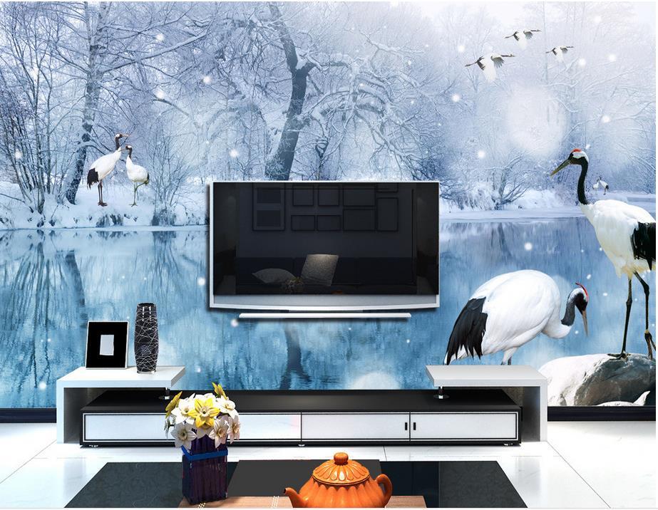 custom wallpaper for walls 3d for living room Snow cranes 3d photo wallpaper Non-woven 3D stereoscopic wallpaper<br><br>Aliexpress