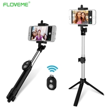 FLOVEME Foldable Mini Selfie Stick Self Bluetooth Selfie Stick+Tripod+Bluetooth Shutter Remote Controller for iPhone Android(China)