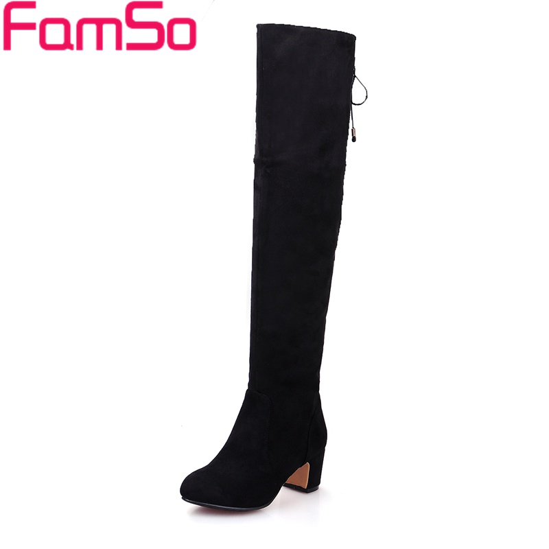 Big Size 34-43 2017 New Fashion Women Thigh High Boots Black red Motorcycle Boots Winter Flock Knee High Boots ZWB4411<br>
