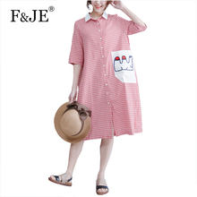 F&JE 2017 spring summer Fashion Korean Style Women Loose Casual Plaid Long Dress Top Quality Cotton shirt Dress Plus Size J925