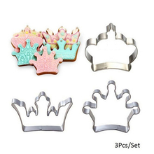 3Pcs/Set Stainless Steel Princess Crown King Queen Party Cookie Cutter Cake Biscuit Baking Tool Mold Wholesale