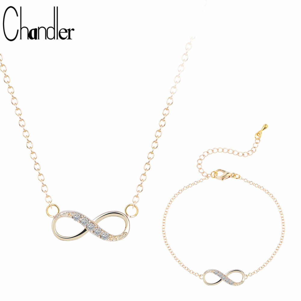 Chandler Silver Plated Number 8 Endless CZ Necklace & Bracelet For Women Forever Eternal Friendship Infinity Fashion Jewelry Set