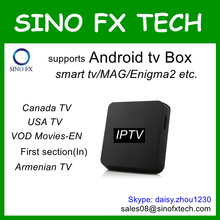 Hot sale USA Canada product Android tv box ip tv package 650+ channels for Canada/USA TV, VOD Movies freetest