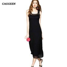 CAGGEEN Europe States famous brand new women sleeveless Silk dress summer High end temperament slim Mulberry silk Sexy dress