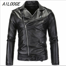 AILOOGE Hot 2017 Men's Autumn Winter Brand Rock Leather Jacket, Motorcycle Jacket, Men Leather Clothes Slim Mens Leather Jacket