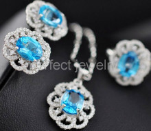Blue topaz set Natural blue topaz 925 sterling silver,1pc ring,1pc pendant,1pair stud earirng 2.5ct*4pcs gems #16031007