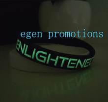 500pcs specific silicone wristbands custom bracelet with glow writing EG-WBG110 promotional phosphorescent armbands for events(China)