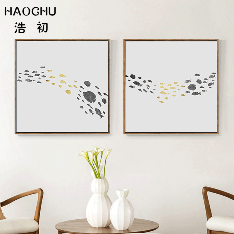 HAOCHU Nordic Small Marine Shoal of Fish Canvas Painting Minimalist seascape Wall Picture Office Home Ornament Art Poster Decor(China)