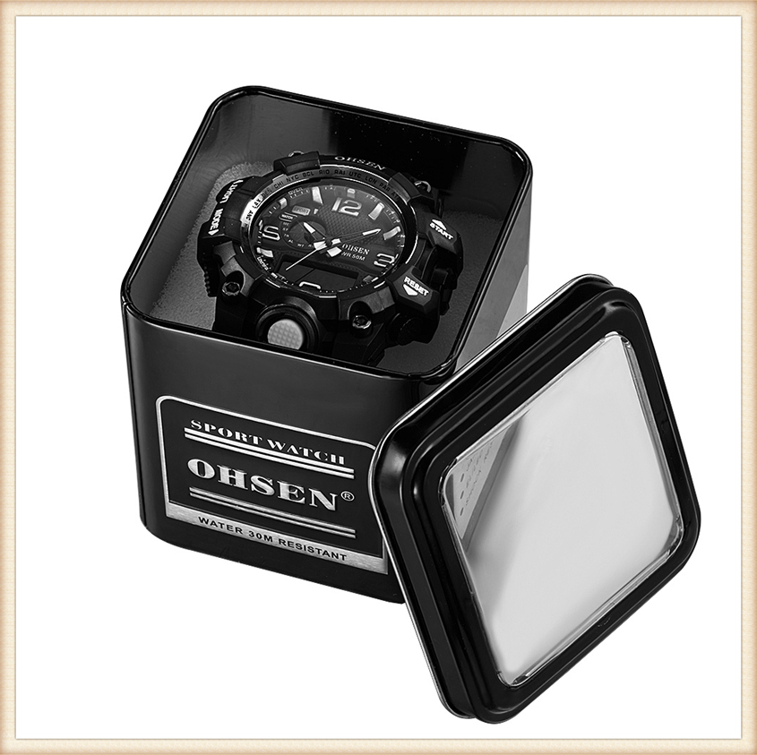 1PCS Fashion 100% Original OHSEN Watch Boxes Good Quality Protect Watch Metal Gift Box Freeshipping with OHSEN LOGO Dropshipping (24)