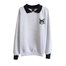 Women Sweatshirt Korean Cute Cat Printed Loose Jumper Sweatshirt Lapel Pullover