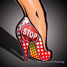 Free Shipping Supply Hand painted Modern Pop art oil paintings on canvas Abstract Modern canvas art of girls shoe for home decor(China)