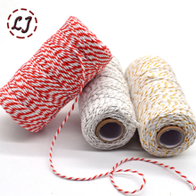 wholesale 100meters/roll 2ply Bakers Twine String Cotton Cords Rope for home handmade Christmas gift packing Craft Projects DIY(China)