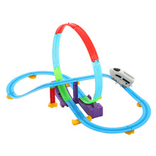 Toy Vehicles Electric Track Rail Car Kids Toys Track Racer Racing Car Rail Car Battery Powered DIY Toys Set for Children Gift(China)
