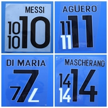 New Argentina MESSI MASCHERANO AGUERO DI MARIA football number name font print, Hot stamping Soccer patches badges