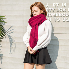 Longer tassel pure color knitting wool scarf Korea style of the new multicolor optional long winter warm towels of good quality