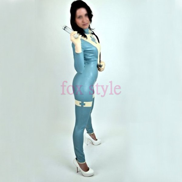 sexy latex uniform garment clothes ladies skye blue white trim