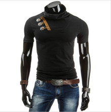 Fashion Leisure Time Personality Ox Horn Buckle Decoration Man Short Sleeve T-shirt DT07