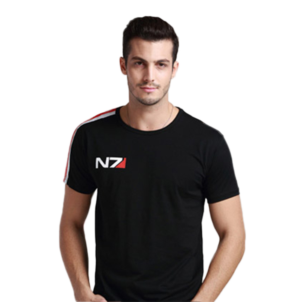 Mass Effected 3 T-Shirts Game N7 Men Adults Cotton Black Short Sleeve Systems Alliance Military Emblem Tee Shirts Summer Tops