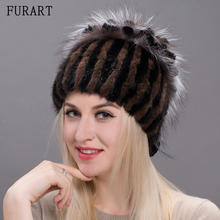 Women's Winter Hat New Real Mink Fur Pom Fluffy Ball Hat Cap Fox Fur Ball Mink Fur Fashion Russian Cap Hat For Women DHY17-20