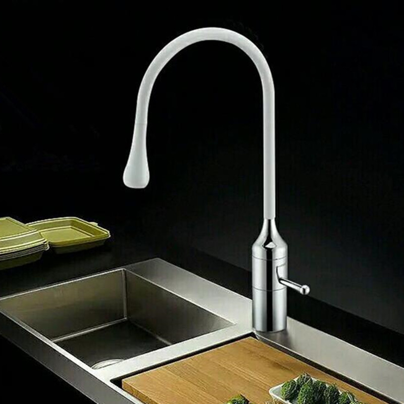High Quality 2016 New Arrival Patent Design Brass Single Handle White Painting Kitchen faucet Gooseneck Sink Mixer Tap<br><br>Aliexpress