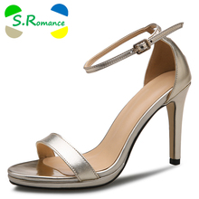 S.Romance Genuine Leather Women Sandals New Hot Fashion High Heel Pumps Office Buckle Strap Women Shoes Black Gold SS685