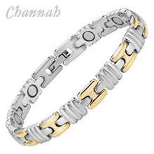 Channah 2017 Unisex 2-Tone Gold Silver Magnetic Stainless Steel Nice Bracelet Bangle Magnet Special Jewelry Wristband Charm