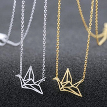 Gold/Silver Plated Origami Crane Chain Pendant Necklace Women Simple Style Origami Bird Animal Couple Lovers Necklace Jewelry