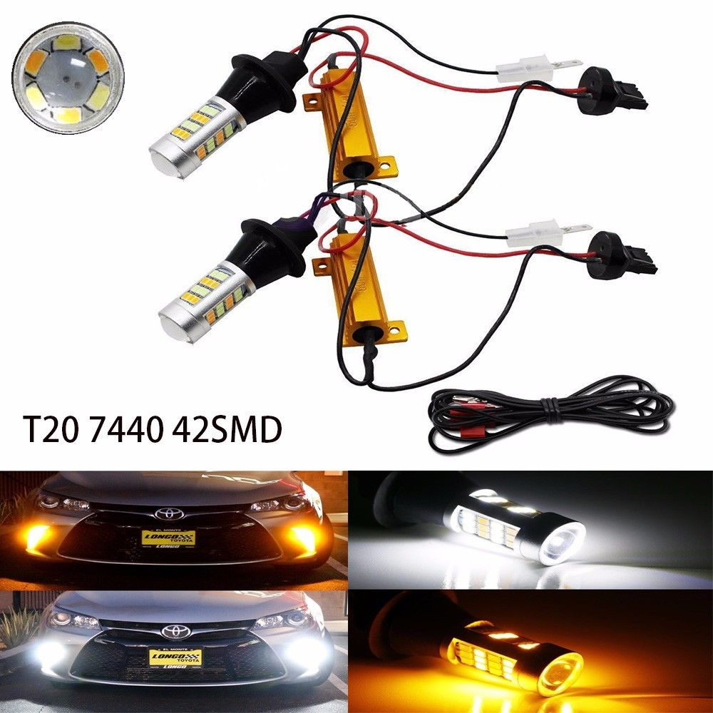 2X 7440 T20 42-SMD 2835 Dual Color Switchback White/Amber Stop Reverse Brake Backup Turn Signal LED Light<br><br>Aliexpress